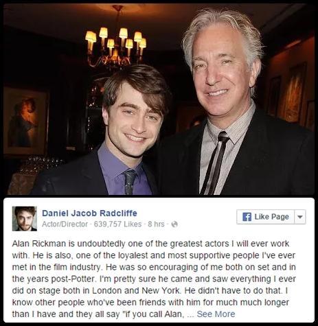 Alan Rickman il toccante ricordo di Daniel Radcliffe ed Emma Watson - FOTO